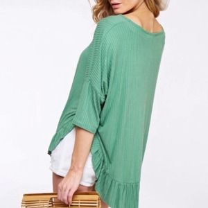 Green ribbed relaxed fit ruffle trim top S